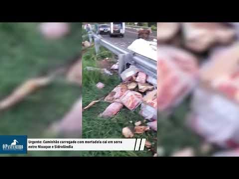 Urgente: Caminhão carregado com mortadela cai em serra entre Nioaque e Sidrolândia