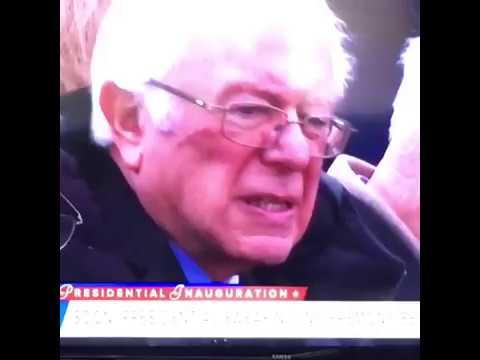Bernie sanders reacts to presidential trump innaguration