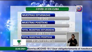 Cuba  reporta 838 casos positivos  a la  Covid-19
