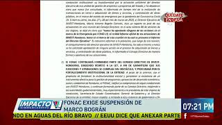 Fonac exige suspensión de Marco Bográn