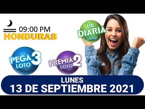 Sorteo 09 PM Loto Honduras, La Diaria, Pega 3, Premia 2, LUNES 13 de septiembre 2021  