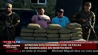 Apresan dos hombres con 18 pacas de marihuana en Montecristi