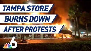 Store Burns to the Ground After Tampa Protest