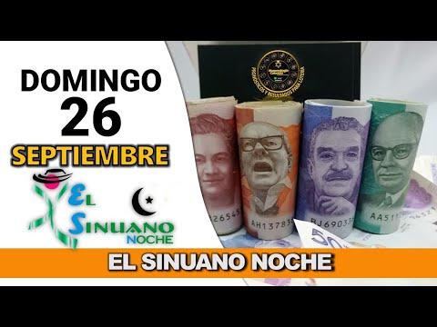 Resultados SINUANO NOCHE domingo 26 de septiembre de 2021