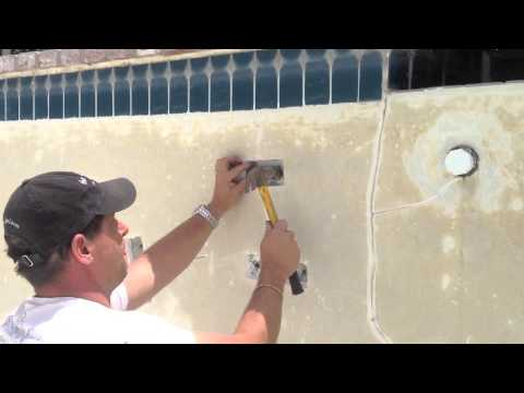 Structural Crack Repair With Torque Lock Staples Swimming Pool