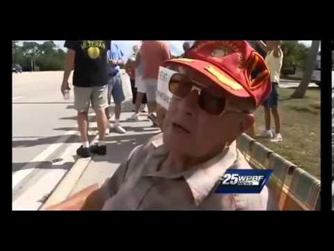 Senior citizens protest outside Vero Beach, FL retirement community