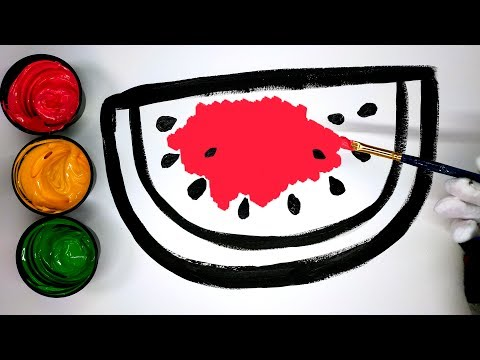 How to draw a Watermelon with Paint, painting a watermelon coloring pages, LEARN COLORS