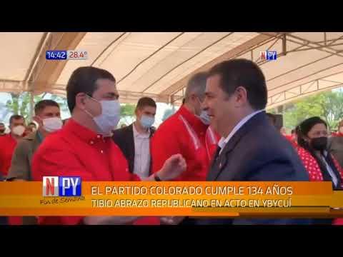 Tibio abrazo republicano entre Mario Abdo y Horacio Cartes en Ybycuí