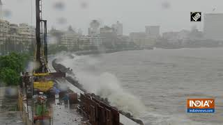 Watch: High tide observed at Mumbai's Marine Drive post heavy rainfall - INDIATV
