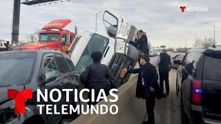 El gobernador de Nueva York ayuda a un conductor accidentado en una autopista   Noticias Telemundo