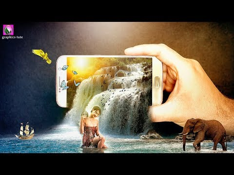 3D Waterfall Manipulation On Mobile(3D Pop Out Effect) - Photo Manipulation In Photoshop