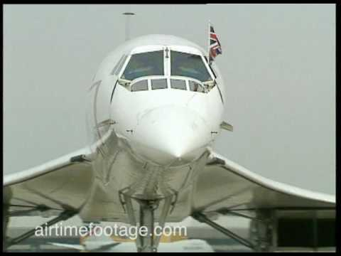 Airtime footage. John Major arrives at Heathrow on Concorde