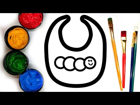 Painting Cute Baby Bib Baby Bottle and Star Painting Pages for Baby, Learn to Color with Paint