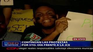 Continúan las protestas por quinto día a la JCE