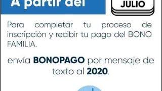 Conozca cómo se realizará el segundo pago de Bono Familia