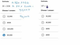 Estimate multiplying multi digit numbers