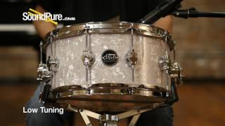 DW 6 5x14 Performance Series Maple Snare Drum, White Marine Quick n' Dirty