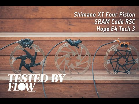 TESTED: Four-Piston Brakes - SRAM Code RSC, Shimano XT M8020 and Hope E4 - Flow Mountain Bike