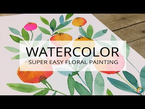 super easy watercolor floral painting