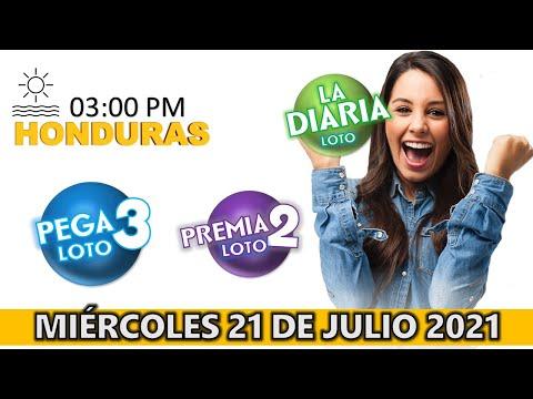 Sorteo 03 PM Loto Honduras, La Diaria, Pega 3, Premia 2, Miércoles 21 de julio 2021  