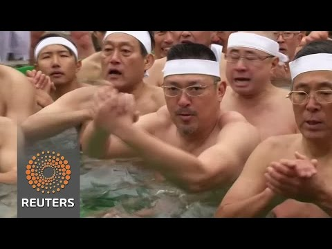 Japanese take ice baths in New Year purification ritual