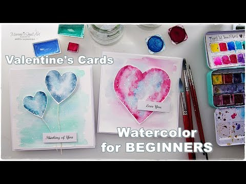 2 Basic Watercolors Valentine's Day Cards ♡ Maremi's Small Art ♡
