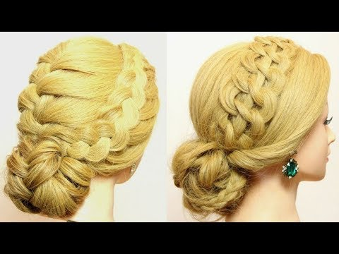2 Собранные  Прически С Косами На Длинные Волосы