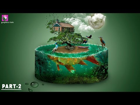 3D Aquarium And Fish Island - Photo Manipulation Tutorial - Photoshop Effect (part -2)
