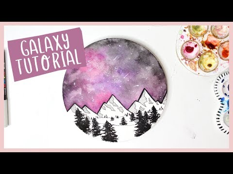 Night Sky Galaxy Watercolor Tutorial with Illustrated Mountains
