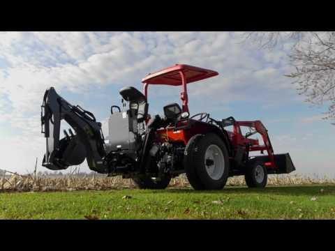 NorTrac 25XT 25HP 4WD Tractor - With Backhoe, Front End Loader and Turf Tires