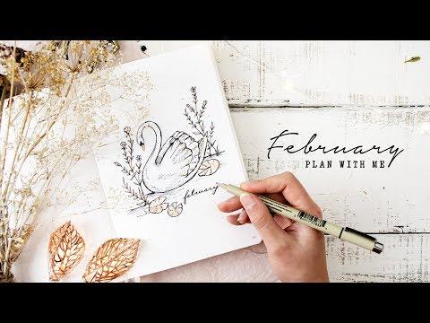 Plan with me | February 2019 Bullet Journal Setup | Elegant Swan