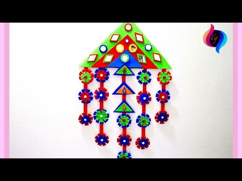 Wall hanging with paper - Paper wall hanging decorations for diwali - Handmade wall hanging ideas