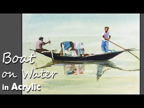 How to Paint A Boat on Water in Acrylic step by step