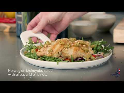 Norwegian Makayabu salad with olives and pine nuts