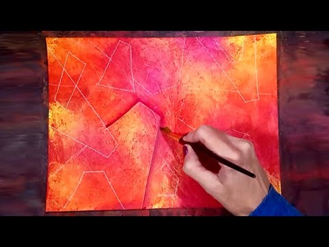 Abstract Acrylic Painting Made with Plastic Wrap - Shade & Highlight with Paint - Easy Painting Demo
