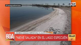Nieve salada en el lago Especuén