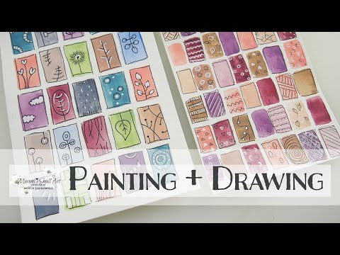 BEGINNERS Watercolor Rectangles & Doodling ~ EASY Painting ♡ Maremi's Small Art ♡