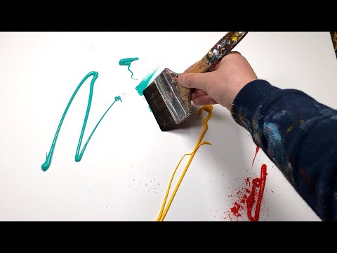 Peinture Abstraite Démonstration à l'Acrylique avec bande de masquage | Wotan