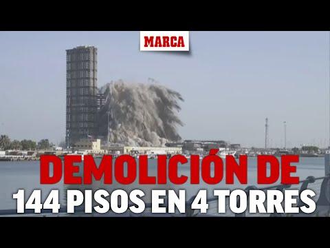 Rápida demolición de 144 pisos en 4 torres en Emiratos Arabes con una explosión controlada I MARCA