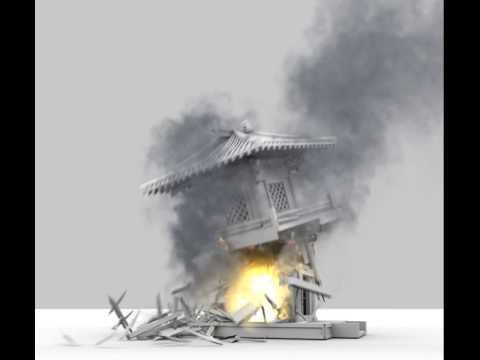 Cassanova Wicaksono's self-taught thinkingParticles ' pagoda missile hit' scene.