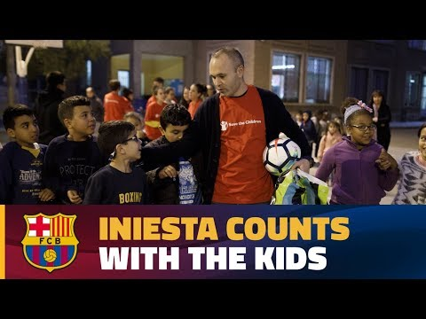 Andrés Iniesta meets youngsters as part of the 'Save the Children' programme