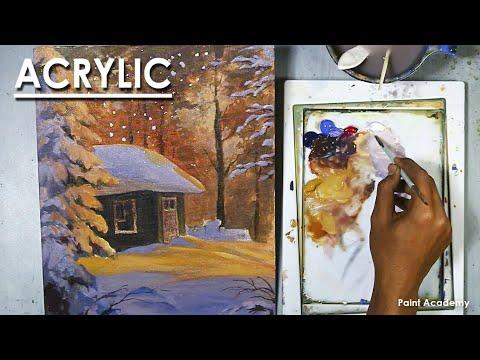 Acrylic Painting : A Winter Snowfall Scene