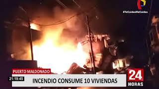 Incendio en Puerto Maldonado afectó diez viviendas