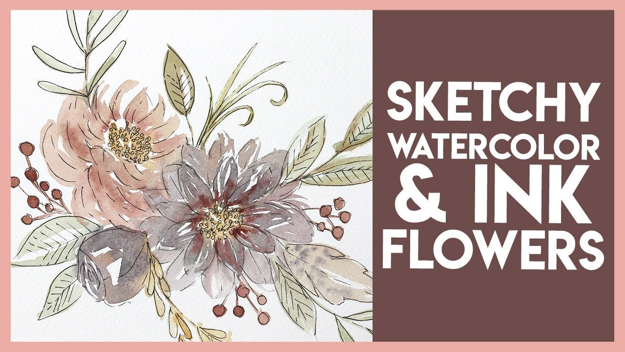 Ink & Watercolour Flower Tutorial - Autumn Inspired Easy Beginner Painting