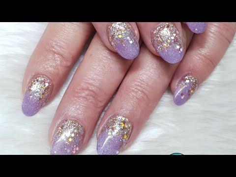 Acrylic Overlays - Lilac & Rose Gold Glitter - Glitter Embedding
