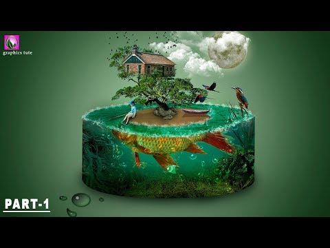 3D Aquarium And Fish Island - Photo Manipulation Tutorial - Photoshop Effect(Part-1)