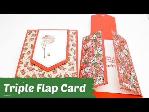 Faltkarte mit Trick--Triple Flap Fold Card--Anleitung--DIY--Papierbasteln