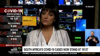 Coronavirus pandemic    SA's COVID-19 cases now stands at 19 137 with 369 fatalities