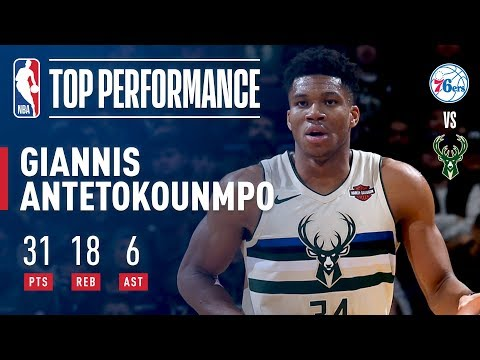 Giannis Antetokounmpo's 31/18/6 Provides Spark in Victory vs. 76ers | Janaury 29, 2018