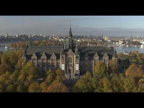Flygvy över Nordiska museet i Stockholm